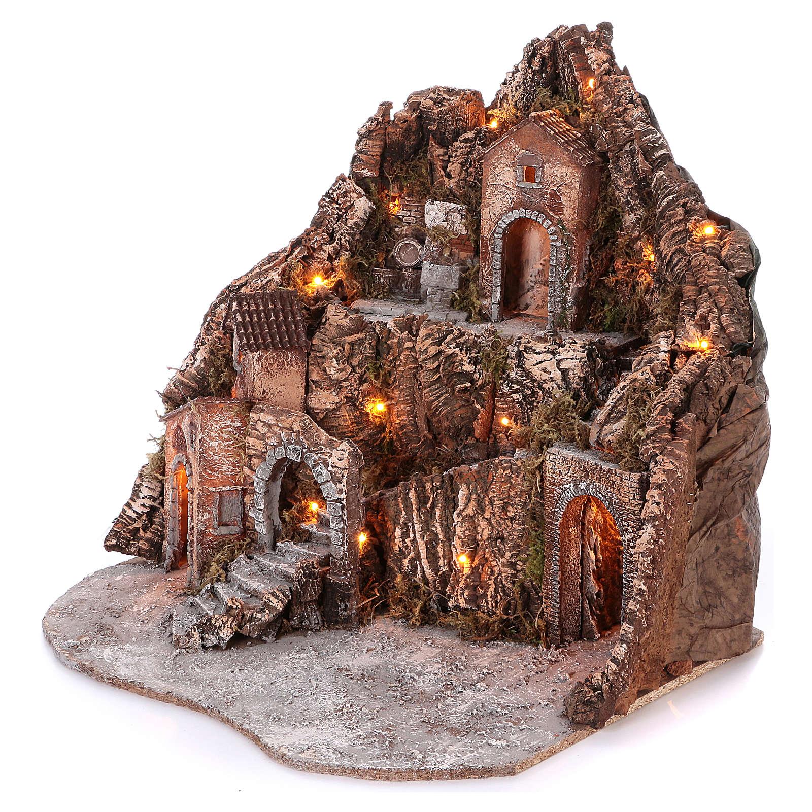 Borgo su montagna più livelli arcata su strada fontana 75x85x50 cm illuminato 6-8-10 cm 4