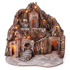 Borgo su montagna più livelli arcata su strada fontana 75x85x50 cm illuminato 6-8-10 cm s1