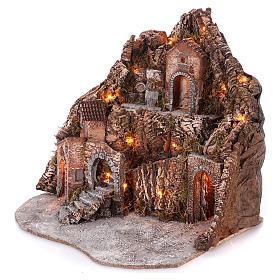 Borgo su montagna più livelli arcata su strada fontana 75x85x50 cm illuminato 6-8-10 cm s2