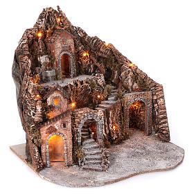 Borgo su montagna più livelli arcata su strada fontana 75x85x50 cm illuminato 6-8-10 cm s3