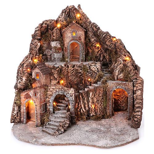 Borgo su montagna più livelli arcata su strada fontana 75x85x50 cm illuminato 6-8-10 cm 1