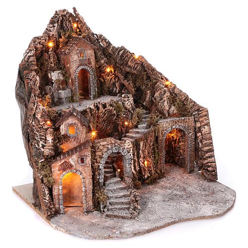Borgo su montagna più livelli arcata su strada fontana 75x85x50 cm illuminato 6-8-10 cm 3