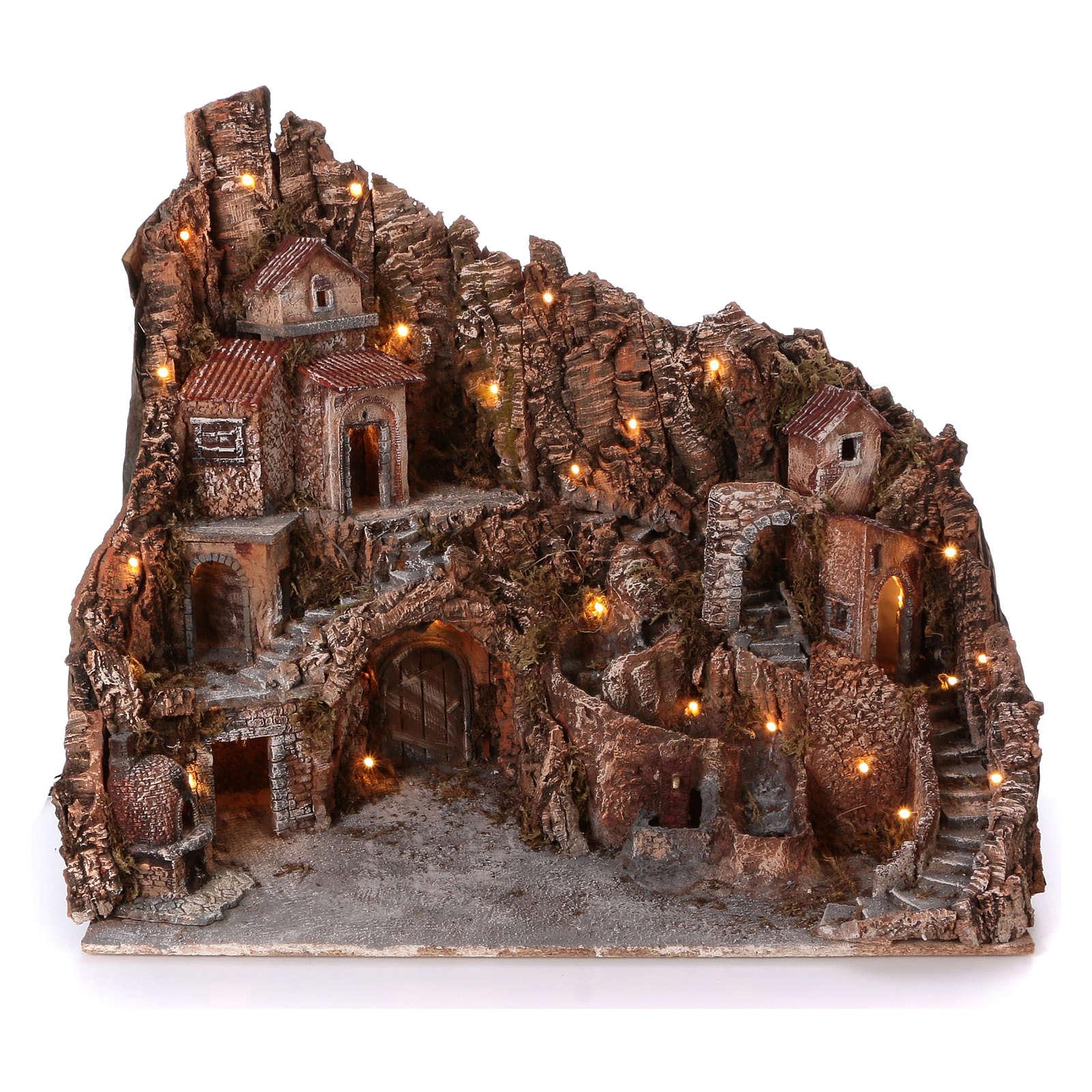 Pueblo con fuente horno y arroyo 55x60x65 cm iluminado belén Nápoles 10-12 cm 4