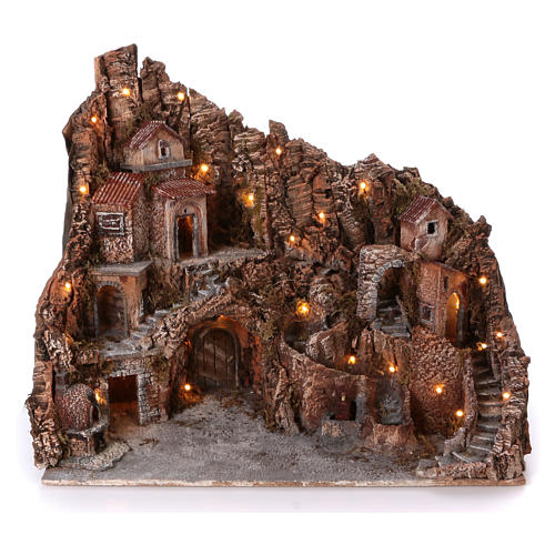 Pueblo con fuente horno y arroyo 55x60x65 cm iluminado belén Nápoles 10-12 cm 1