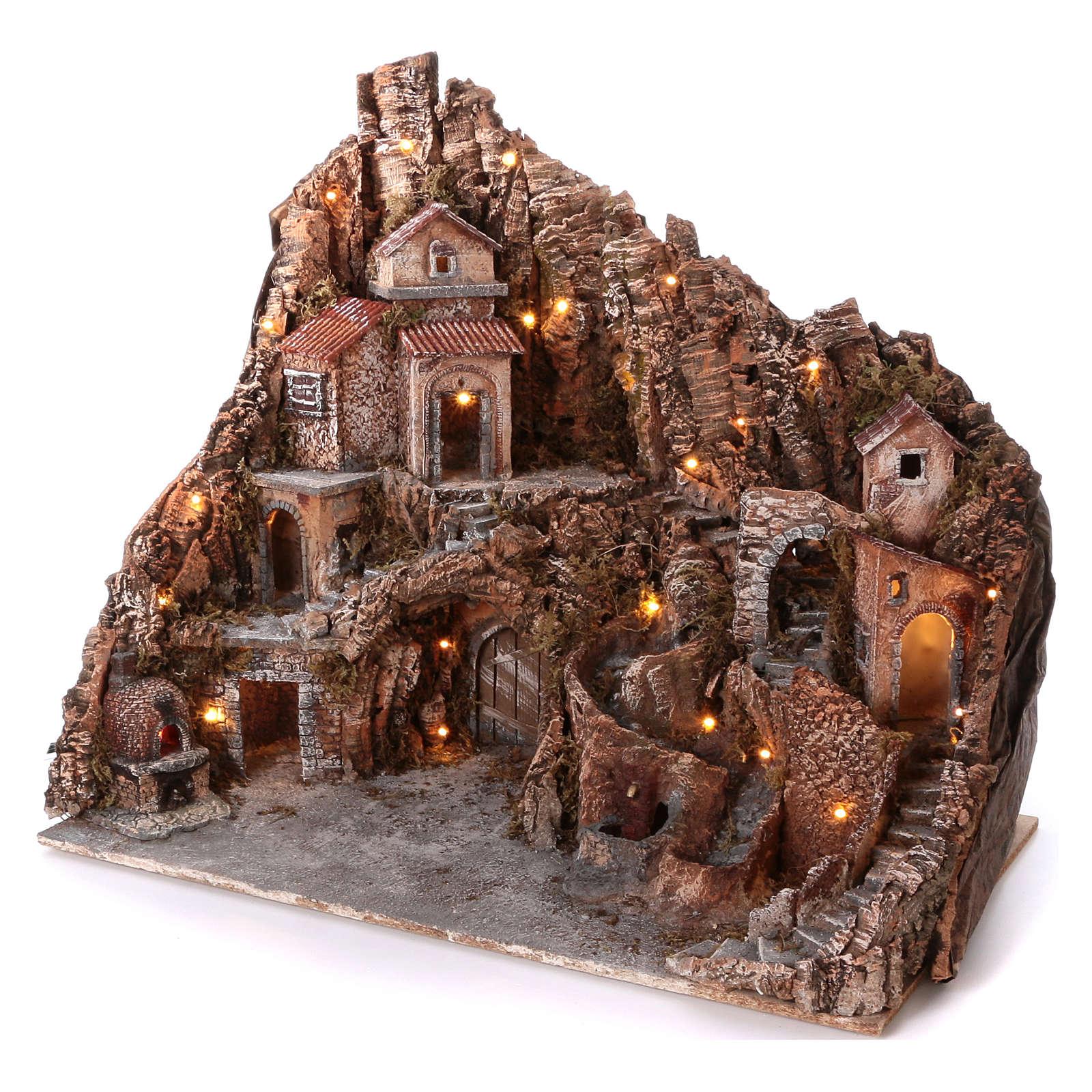 Borgo con fontana forno e ruscello 60x80x50 cm illuminato presepe Napoli 10-12 cm 4
