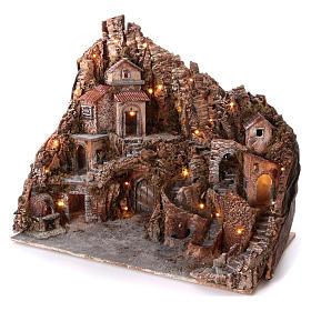 Borgo con fontana forno e ruscello 60x80x50 cm illuminato presepe Napoli 10-12 cm s2