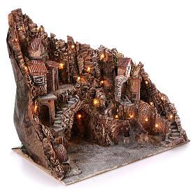 Borgo con fontana forno e ruscello 60x80x50 cm illuminato presepe Napoli 10-12 cm s3