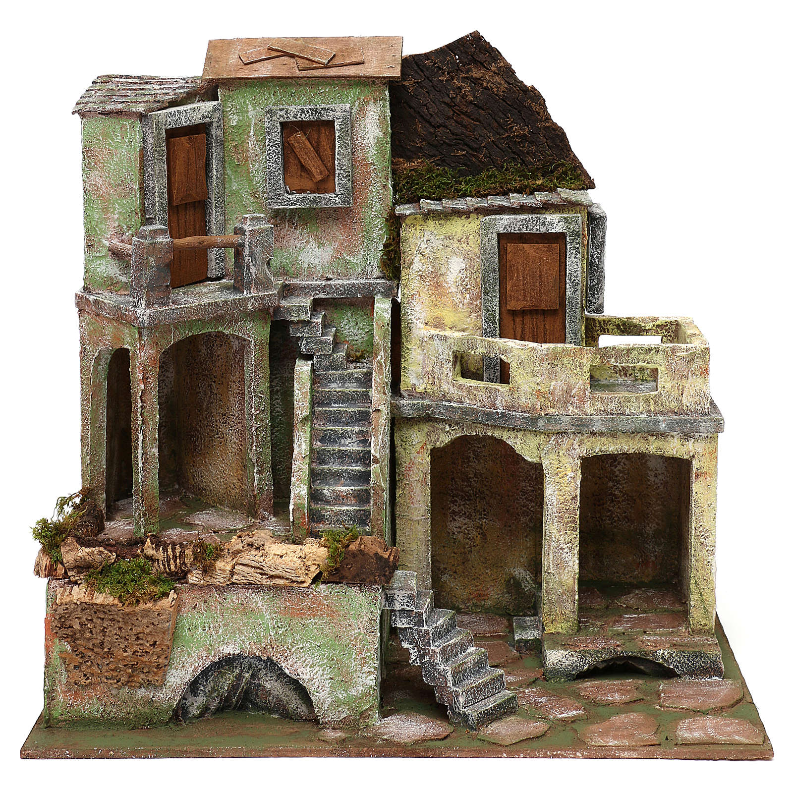 Borgo in resina con scalinata presepi 10 cm 40x40x25 cm 4