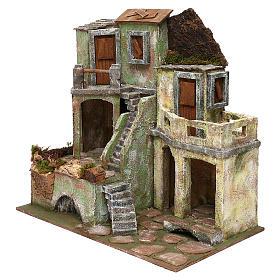 Borgo in resina con scalinata presepi 10 cm 40x40x25 cm s2