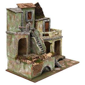 Borgo in resina con scalinata presepi 10 cm 40x40x25 cm s3