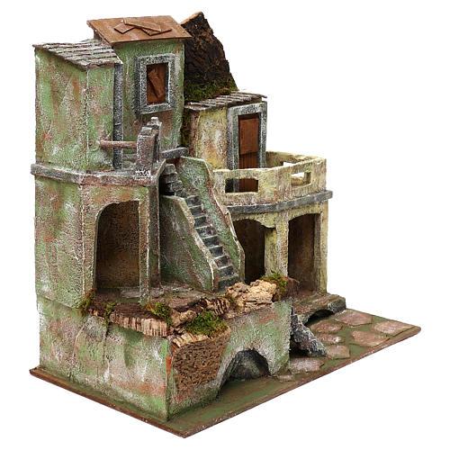 Borgo in resina con scalinata presepi 10 cm 40x40x25 cm 3