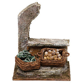 Ambientações para Presépio: lojas, casas, poços: Arcada com cestas legumes 10x10x10 cm para presépio com figuras de 10 cm de altura média
