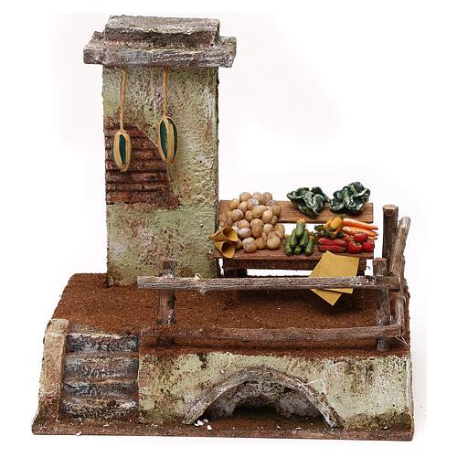 Resin setting for greengrocer for Nativity scene 10 cm 20x20x15 cm 1