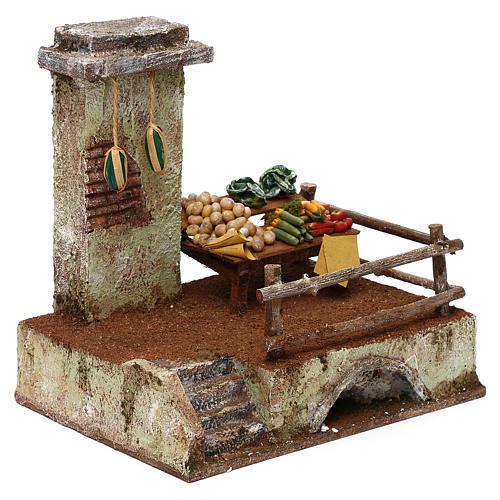 Resin setting for greengrocer for Nativity scene 10 cm 20x20x15 cm 3