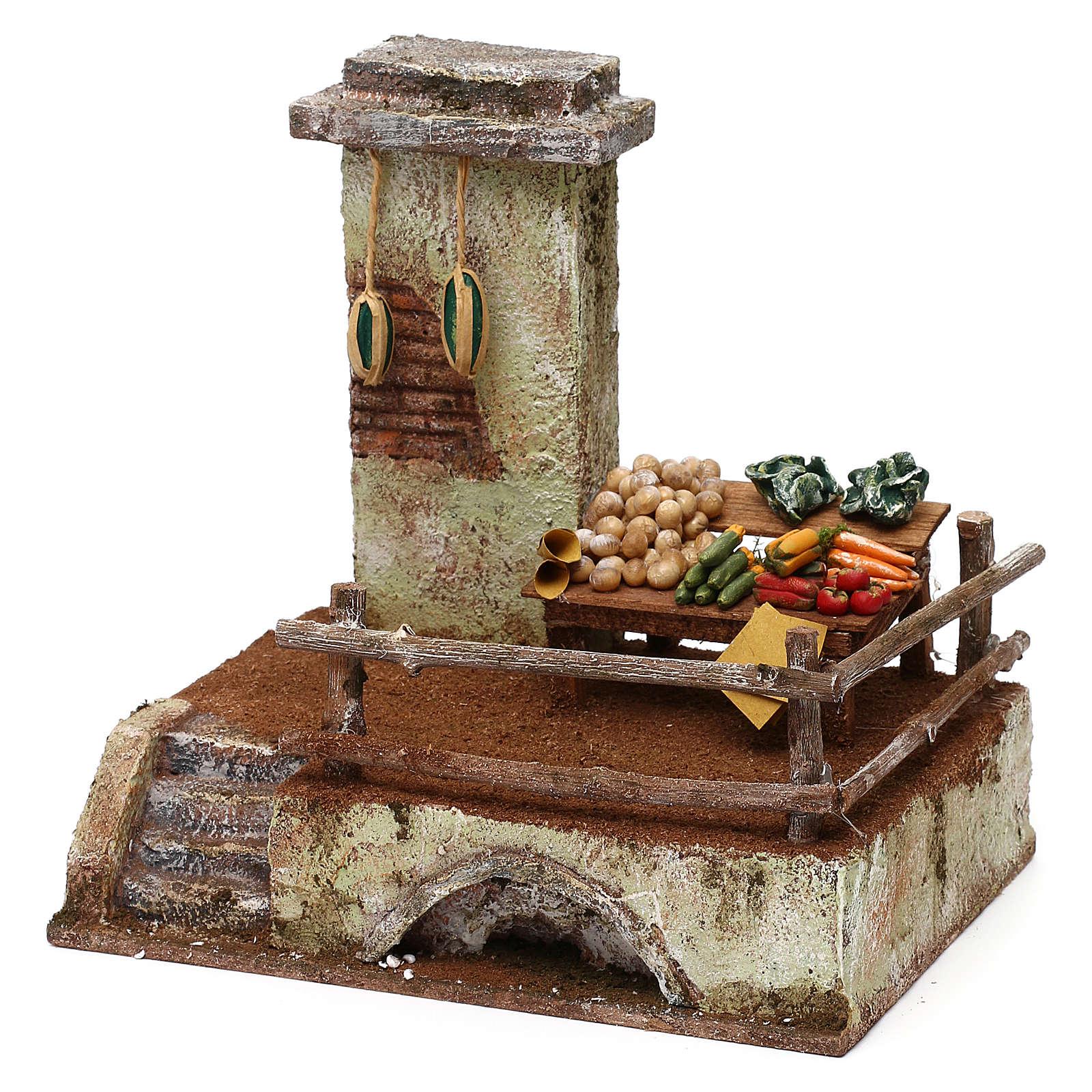 Ambientazione per fruttivendolo in resina presepe 10 cm 20x20x15 cm 4