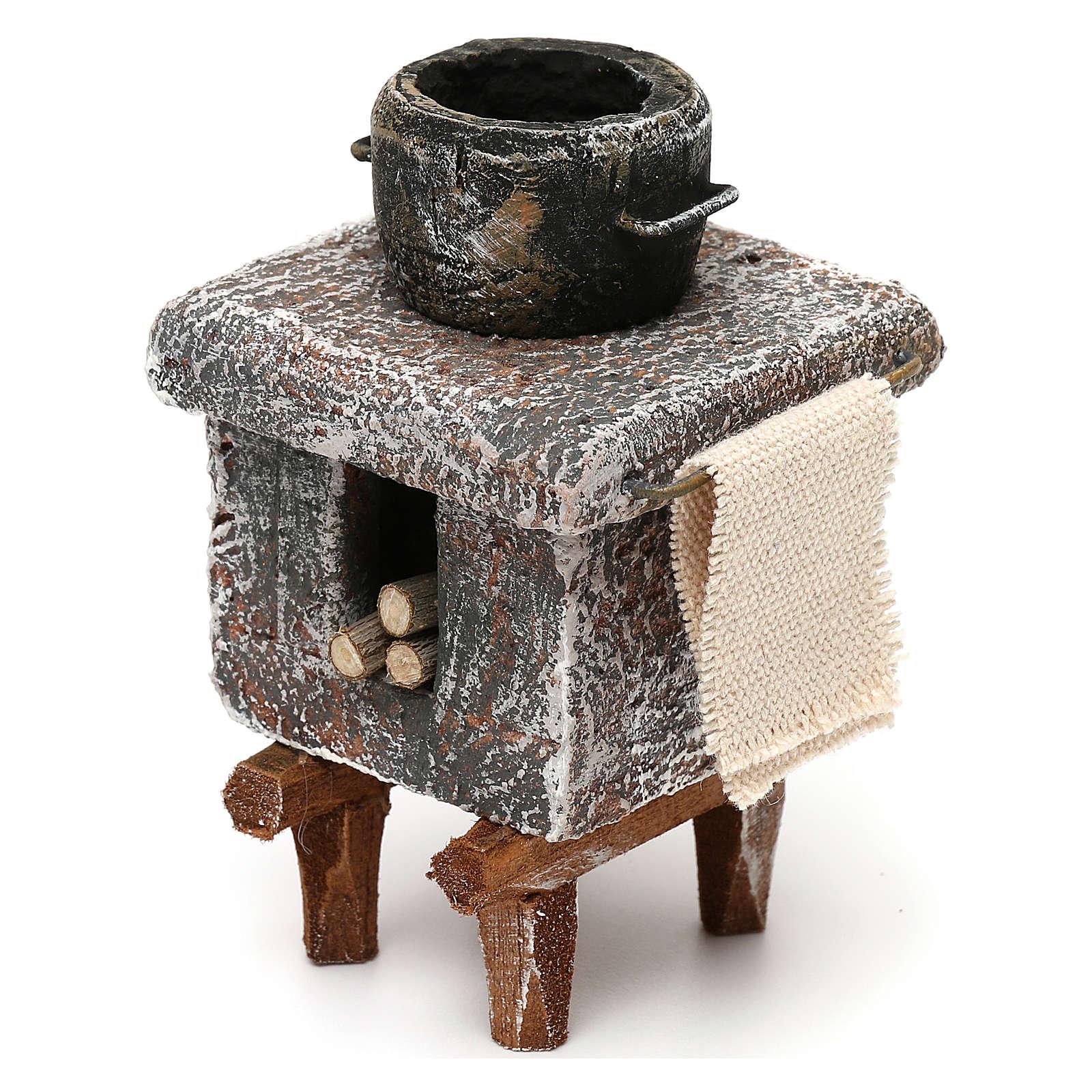 Resin kitchen with pot 10x5x5 cm for Nativity scene 10 cm 4