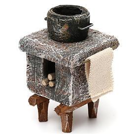 Resin kitchen with pot 10x5x5 cm for Nativity scene 10 cm s2