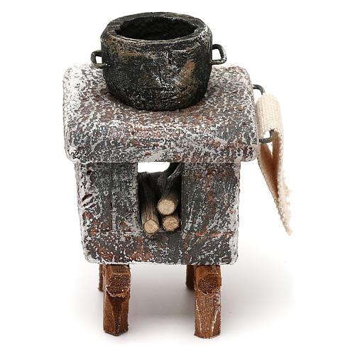 Resin kitchen with pot 10x5x5 cm for Nativity scene 10 cm 1