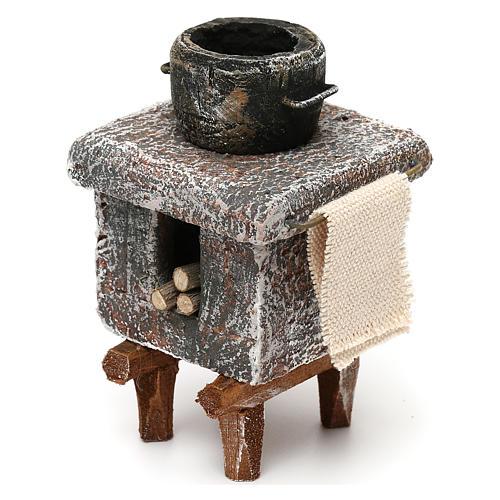 Resin kitchen with pot 10x5x5 cm for Nativity scene 10 cm 2