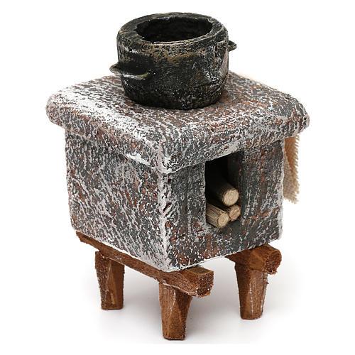 Resin kitchen with pot 10x5x5 cm for Nativity scene 10 cm 3