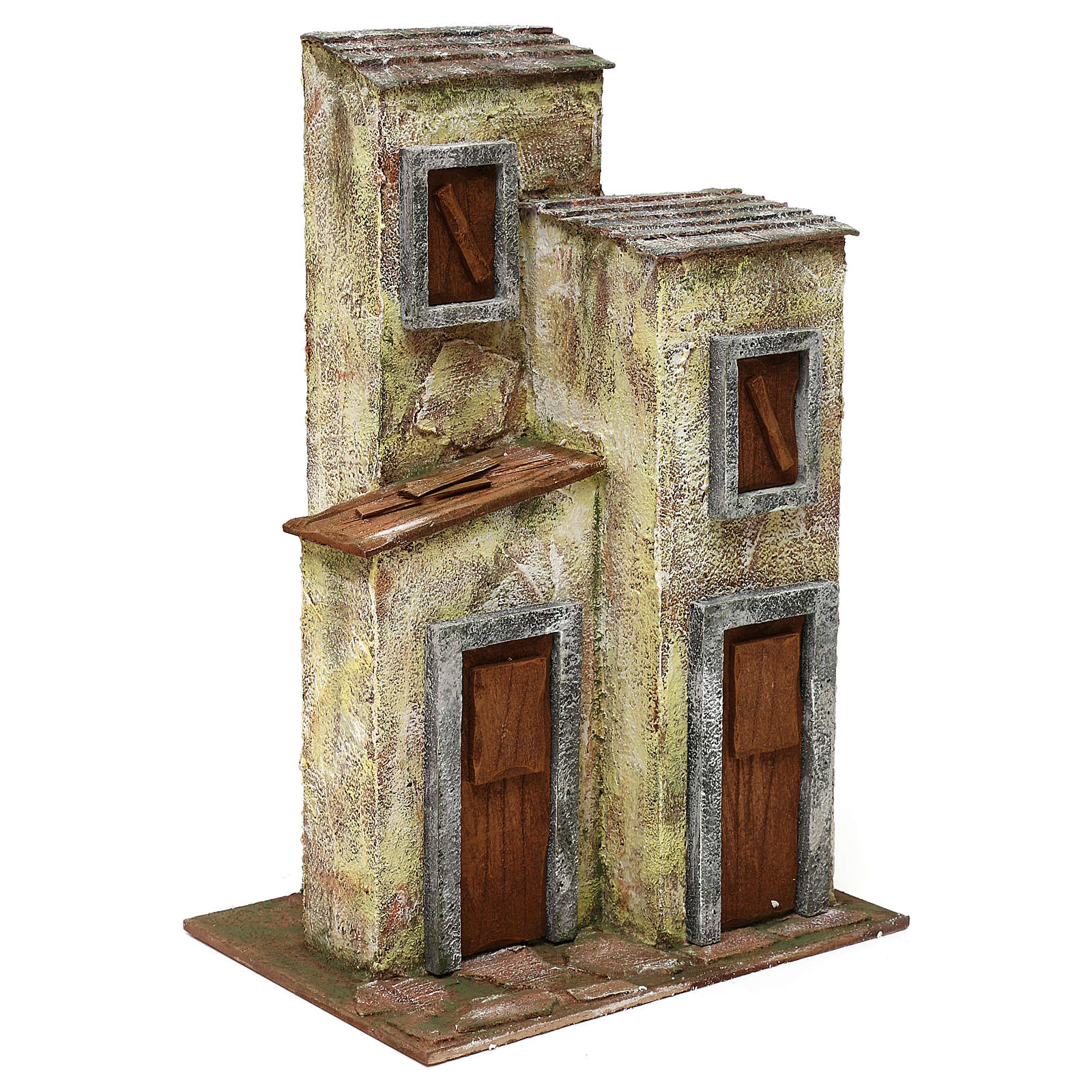 Resin village with three houses 12 cm 40x40x25 cm 4