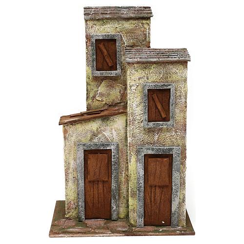 Borgo in resina con tre case presepi 12 cm 40x40x25 cm  1