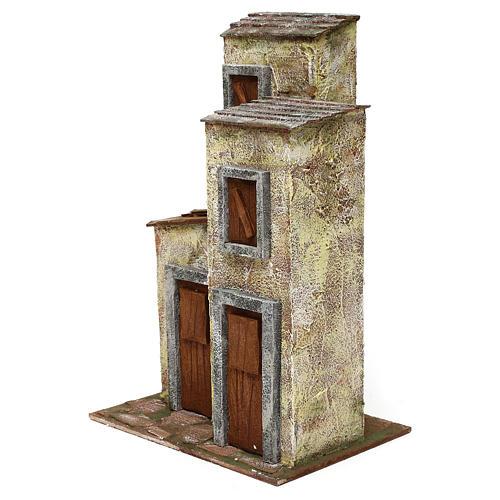 Borgo in resina con tre case presepi 12 cm 40x40x25 cm  2
