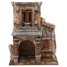Resin house with balcony and porch 30x25x15 cm for Nativity scenes 10 cm s1