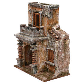 Resin house with balcony and porch 30x25x15 cm for Nativity scenes 10 cm s2