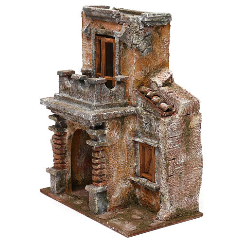 Resin house with balcony and porch 30x25x15 cm for Nativity scenes 10 cm 2