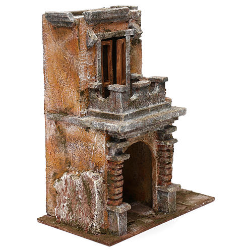 Resin house with balcony and porch 30x25x15 cm for Nativity scenes 10 cm 3