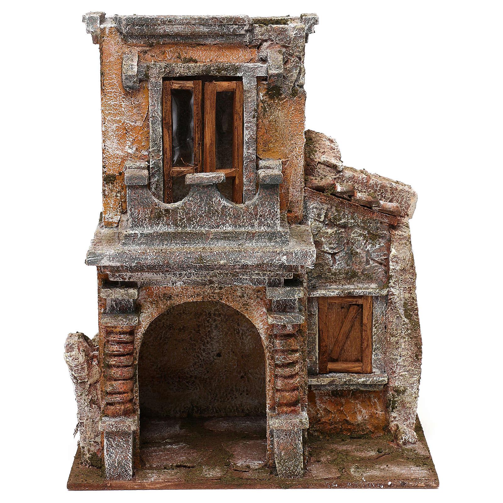 Casa resina con balcón y pórtico 30x25x15 cm belenes 10 cm 4