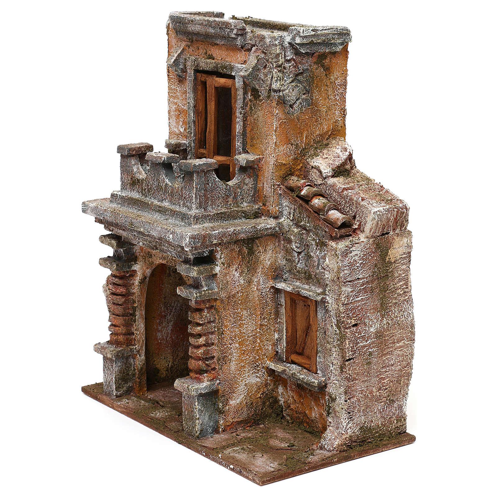 Casa resina con balcone e portico 30x25x15 cm presepi 10 cm 4