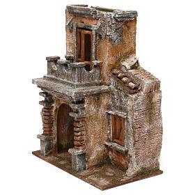 Casa resina con balcone e portico 30x25x15 cm presepi 10 cm s2