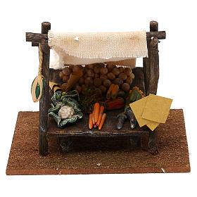Ambientações para Presépio: lojas, casas, poços: Banca do verdureiro 15x15x15 cm para presépio com figuras de 10 cm de altura média