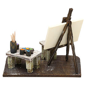 Painter's workshop in resin Nativity Scene 12 cm 10x15x10 cm s4