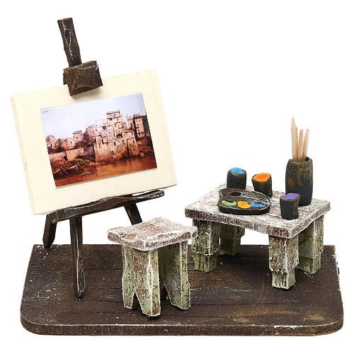 Painter's workshop in resin Nativity Scene 12 cm 10x15x10 cm 1