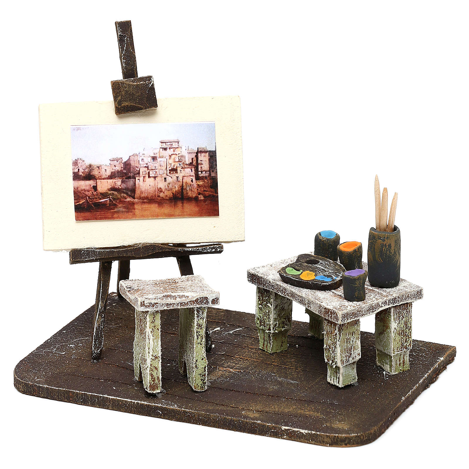 Atelier del pittore resina presepe 12 cm 10x15x10 cm 4