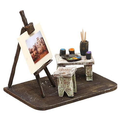 Atelier del pittore resina presepe 12 cm 10x15x10 cm 3
