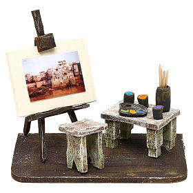 Otoczenie, sklepy, domy, studnie: Atelier malarza żywica szopka 12 cm 10x15x10 cm