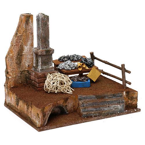 Fisherman's stand in resin Nativity scene 12 cm 20x25x20 cm 3