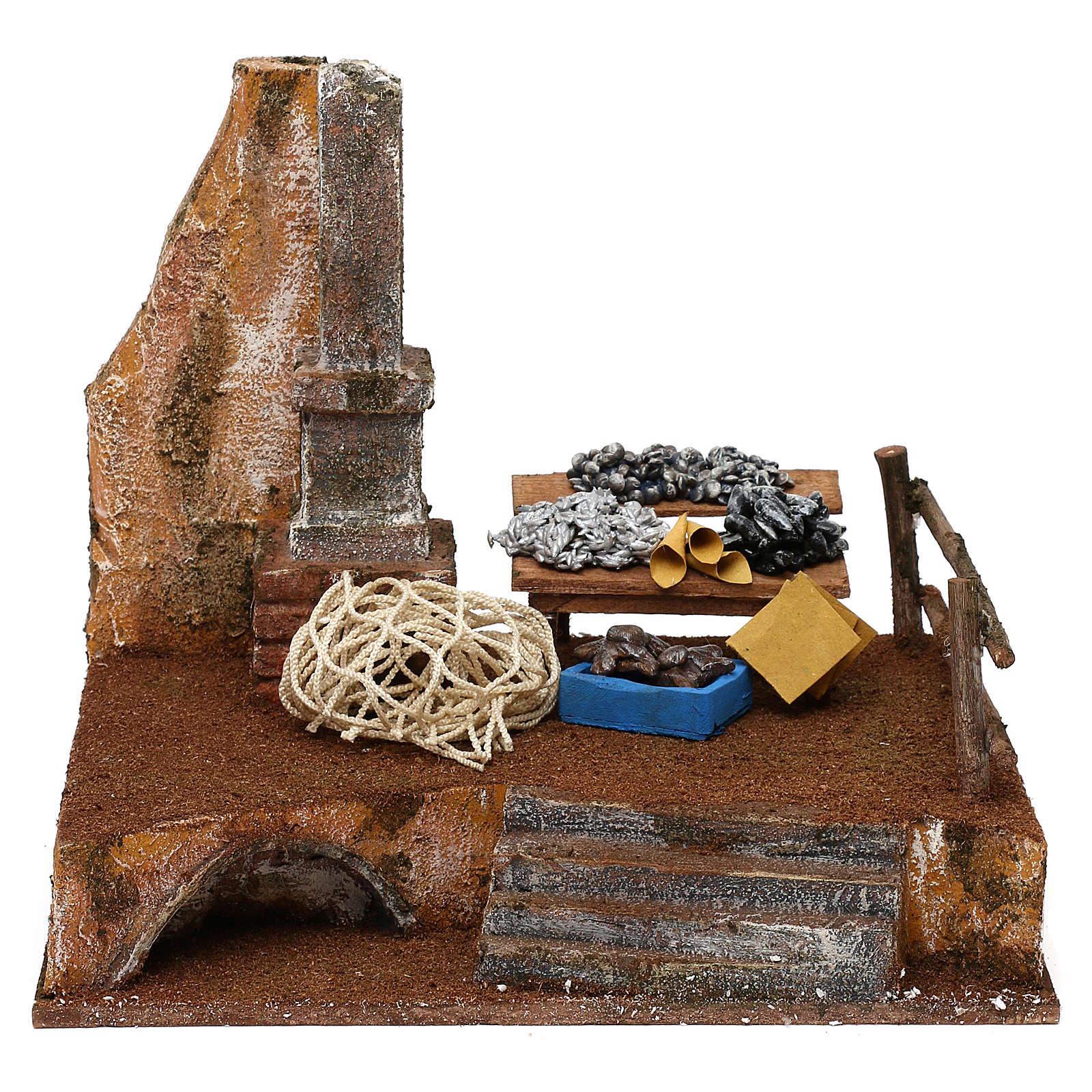 Banchetto pescivendolo in resina presepe 12 cm 20x25x20 cm 4