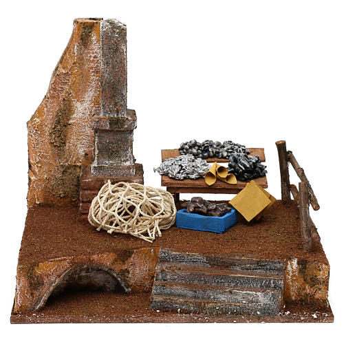 Banchetto pescivendolo in resina presepe 12 cm 20x25x20 cm 1
