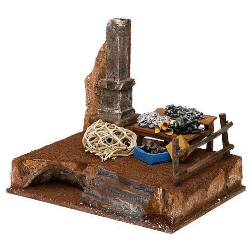 Banchetto pescivendolo in resina presepe 12 cm 20x25x20 cm 2