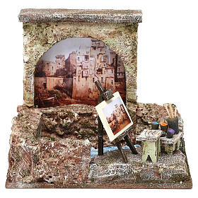 Ambientações para Presépio: lojas, casas, poços: Banca pintor de rua 15x20x15 cm para presépio com figuras de 10 cm de altura média