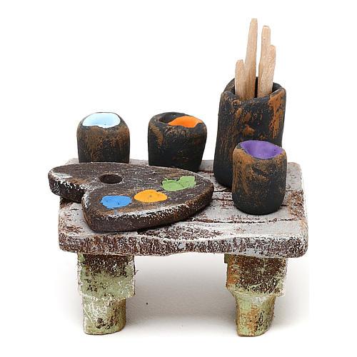 Painter's table with colours 10 cm 5x5x5 cm 1
