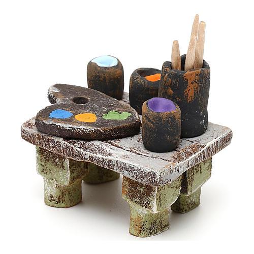 Painter's table with colours 10 cm 5x5x5 cm 2