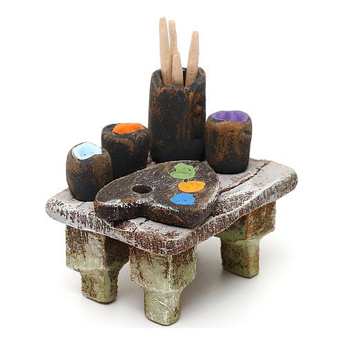 Painter's table with colours 10 cm 5x5x5 cm 3