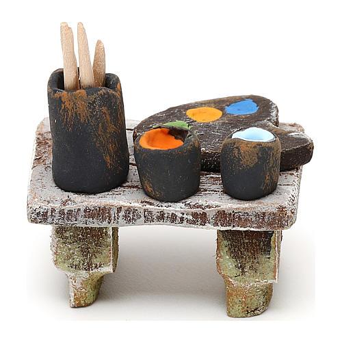 Painter's table with colours 10 cm 5x5x5 cm 4