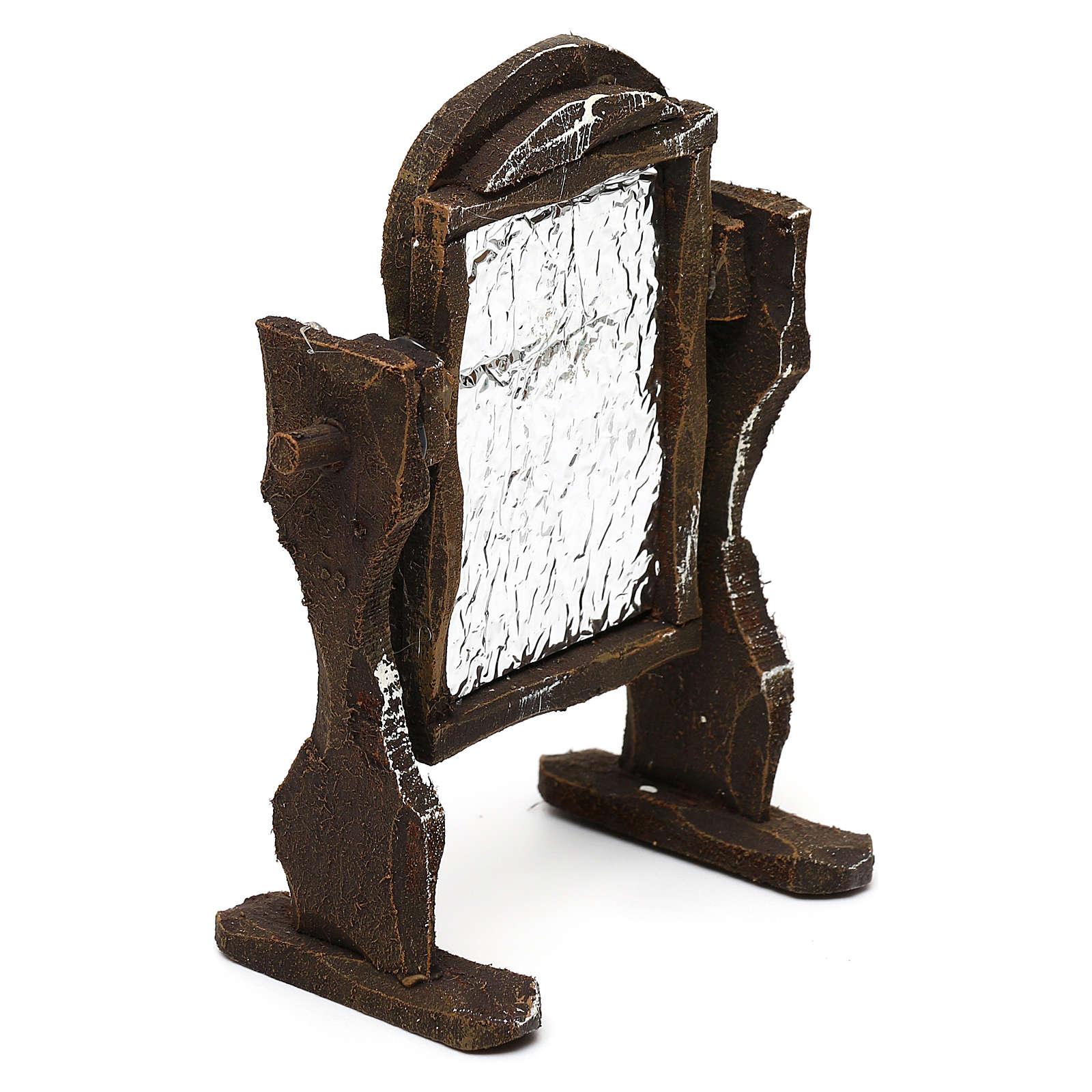 Specchiera legno e carta stagnola presepi 10 cm 10x5x5 cm 4